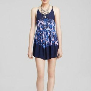 FREE PEOPLE Floral Voile Shortie Slip Dress Blue-M